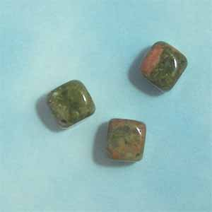 Unakite 10mm Cube Beads (GE1416)