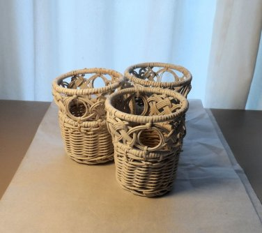 White Wicker Tumbler Holders Set of 3