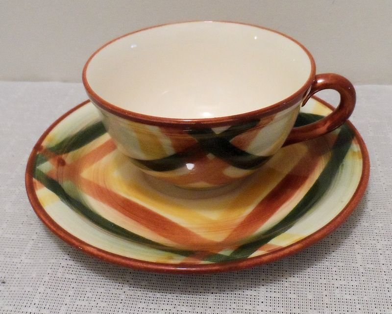 Metlox Vernonware Homespun Cup and Saucer Sets 8 Available