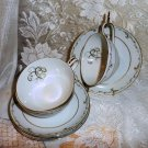 "Vintage Noritake ""Esteem"" Cups and Saucers x3 1953-60"