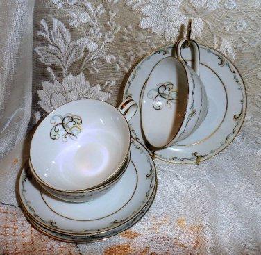 "Vintage Noritake ""Esteem"" Cups and Saucers x3 1953-60"