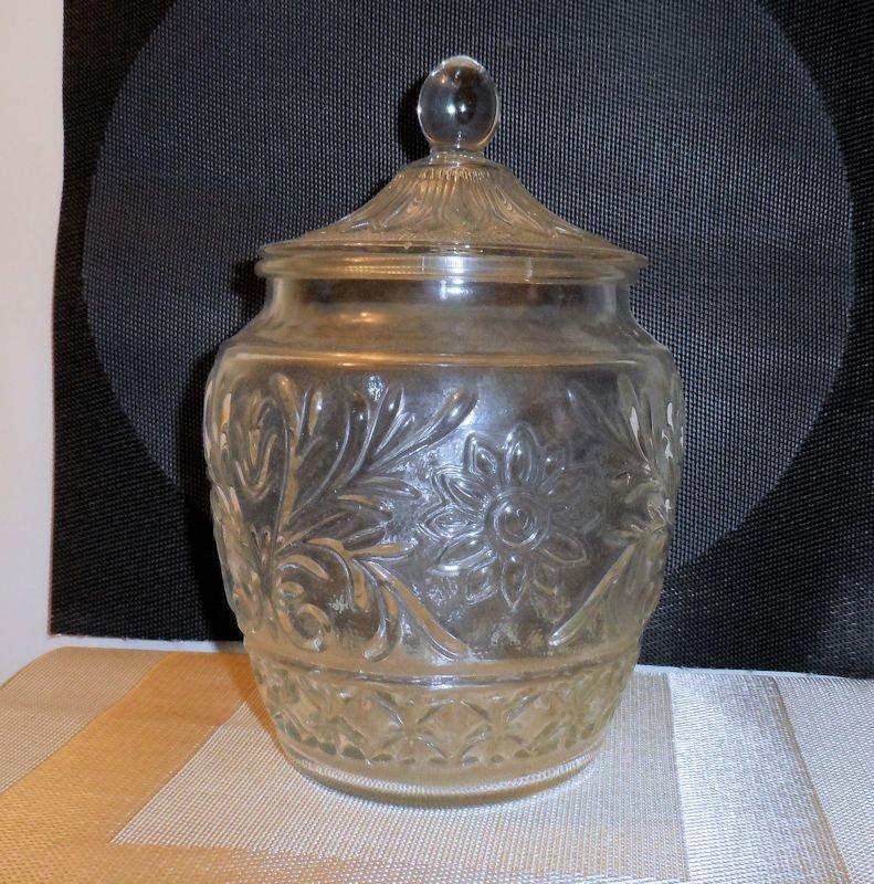 Tiara Glass Company Sandwich Glass Pattern Cookie Jar