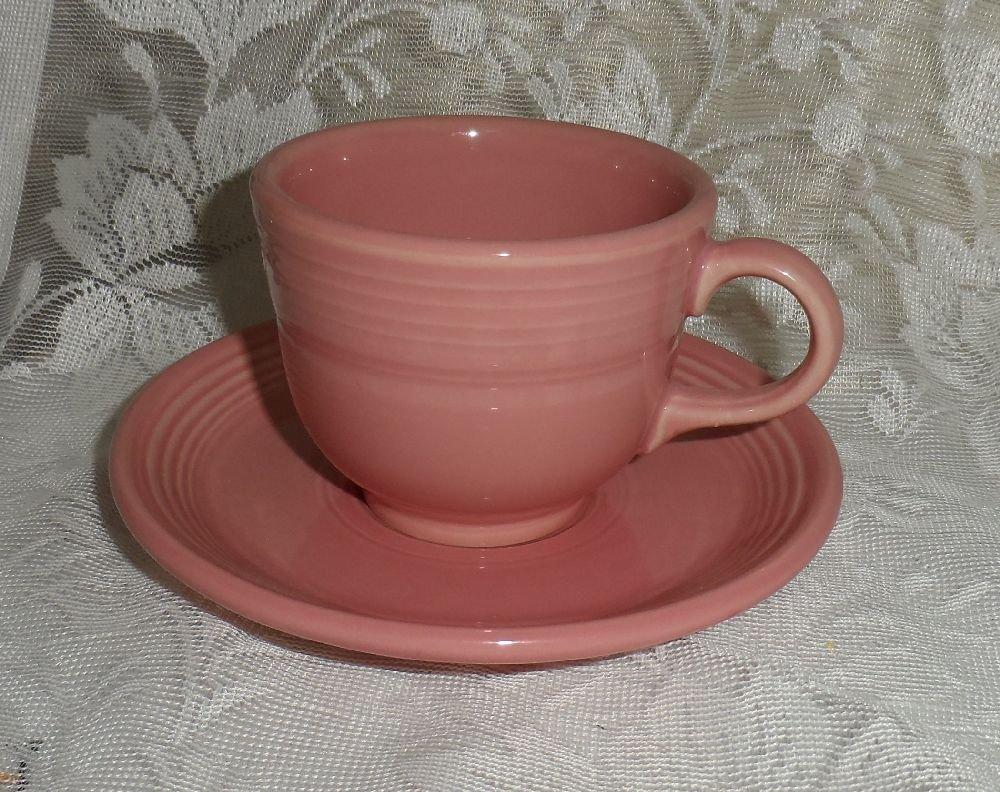 Fiesta Rose Flat Cup & Saucer Set 1986 to 2005