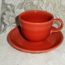 Fiesta Persimmon Flat Cup & Saucer Set 1986 to 2007