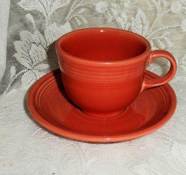 Fiesta Persimmon Flat Cup & Saucer Set 1986 to 2007