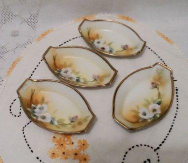 Nippon Porcelain Hand Painted Salt Cellars Moriage Trim Set of 4