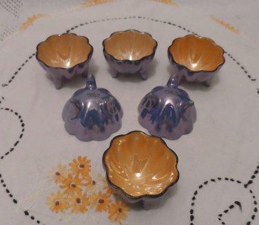 Luster Ware Footed Salt Cellars Porcelain Japan Original Box