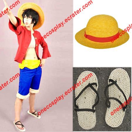 One Piece Monkey D. Luffy 2nd Cosplay Costume With Luffy Hat ,Straw Shoes