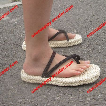Monkey D. Luffy Sandals Straw Shoes Tatbeb Slippers Hand-knitted Breathable Shoes
