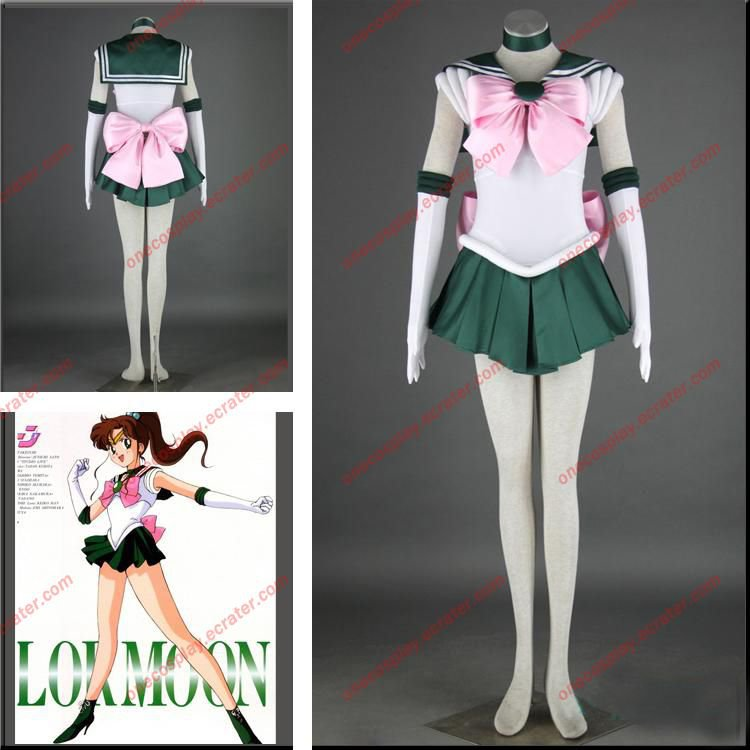 Anime Sailor Moon Cosplay Costumes Sailor Jupiter Fancy Party Uniform Dress