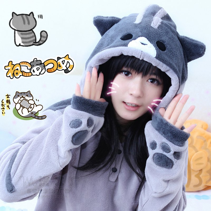 New Arrival Neko Atsume Cosplay Costume Cute Cat Thicken Flannel Hooded Sweatershirts Coat  Jacket