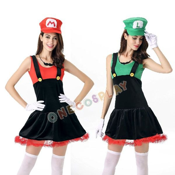Super Mario Cosplay Costumes Luigi Brothers Plumber Jumpsuits Women Fancy Complete Uniform Set +Hat