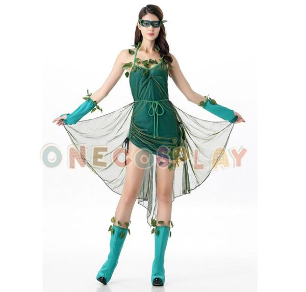 Green Forest Cosplay Costumes Dryad Green Leaves Dress for Halloween Party