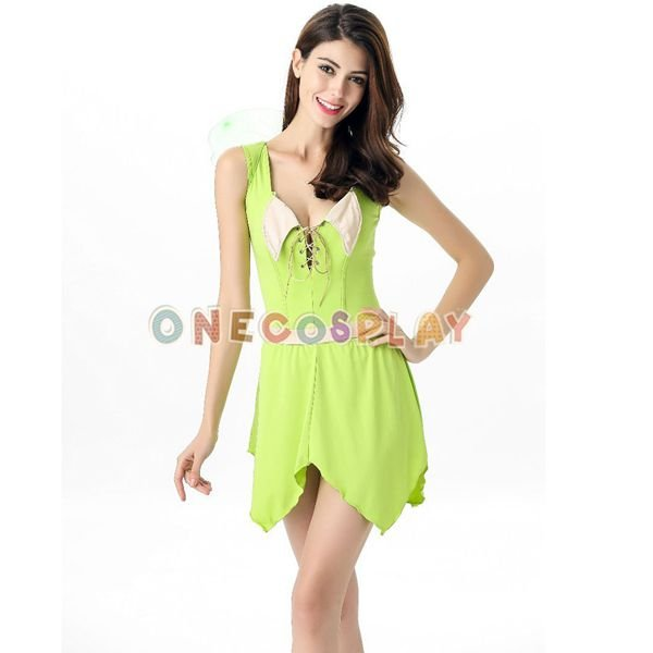 Green Forest Cosplay Costumes Flower Faerie Lovely Dress with Butterfly Wing