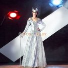 Greek Goddess Cosplay Costume Silver Gothic Dress for Halloween Party Queen Fancy Dress