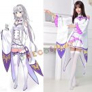 ReZero kara Hajimeru Isekai Seikatsu Emilia Cosplay Costumes New Fashion Anime Women Complete Outfit