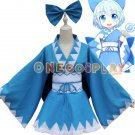 Touhou Project Cosplay Costumes Cirno Japan Kimono Blue Bathrobe for Halloween Fancy Party