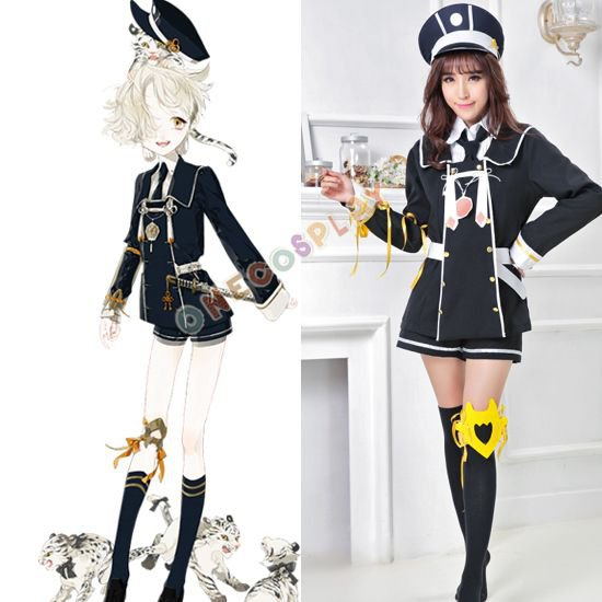 Fashion Games Touken Ranbu Online Gokotai Tiger Cosplay Costumes Police Uniform Outfit with Hat