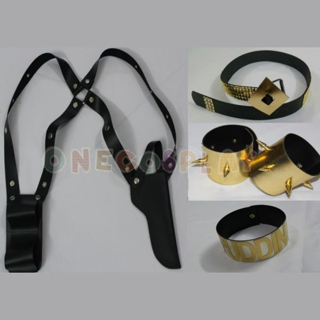 Suicide Squad Harley Quinn Cosplay Clown Belt + bracelet + Glove + Neck Ring +Holster Cos Pro