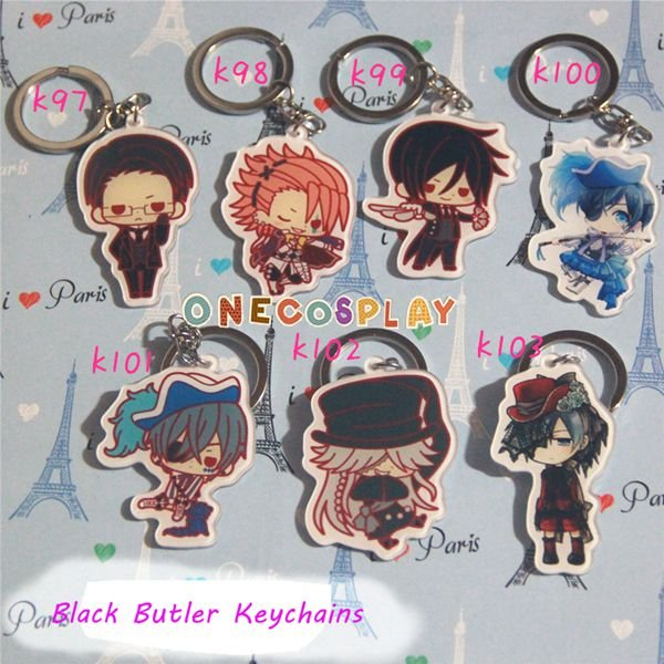 Black Butler Cosplay Accessories Key Chains Ciel Phantomhive Keychains Charm Pendants