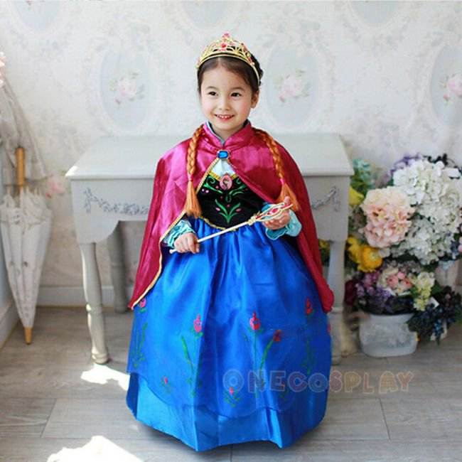 Anna Cosplay Costume Dress For Girls Princess Dresses Children Costume Fairy Tales Princess Dress