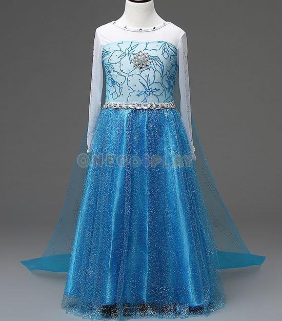 Children Halloween Cosplay Costume Princess Elsa Dress Snow Queen Clothes for Kids