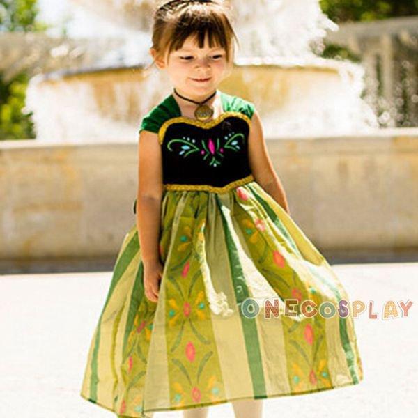 Exquisite Princess Dresses Anna Cosplay Costume Dress Children Costume Fairy Tales Princess Dress
