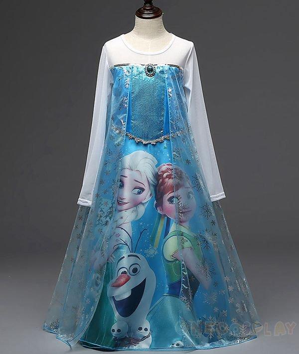New Cartoon Girl Dresses Princess Anna Dress for Children Clothing Snow Queen Elsa Dress Kid Costume