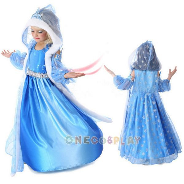 Snow Queen Cosplay Costume for Kids Elsa Dress Children Costume dress+cloak+ sleevelet