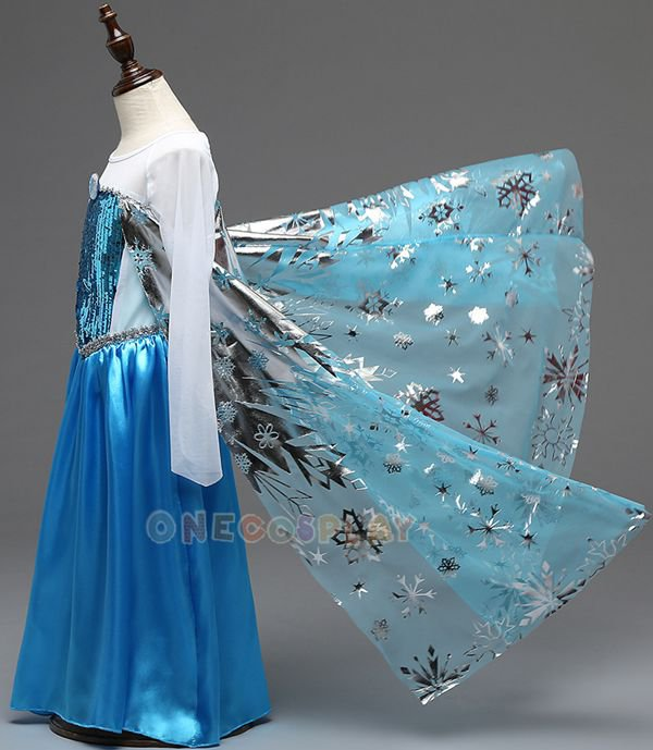 Printing Princess Dresses for Kids Snow Queen Elsa Dress Children Cosplay Costume Formal