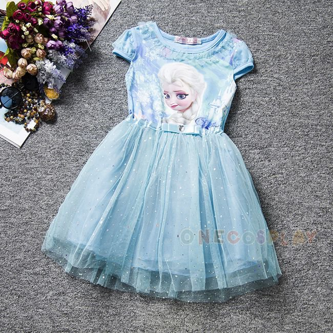 New Elsa Anna Girls Cosplay Dress Princess Dresses Children Clothing Summer Baby Girl Dress