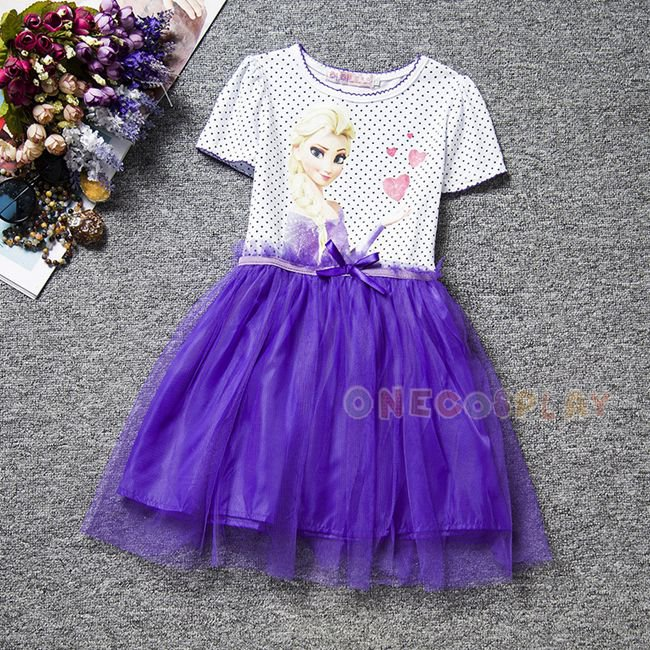 New Princess Elsa Dress Short Sleeve Cartoon Girls Dress Kids Clothes Meninas Vestidos