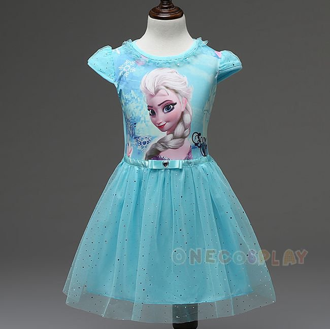 Summer Children Short Sleeve Dress Elsa Anna Girls Cosplay Dress Princess Dress for Kids