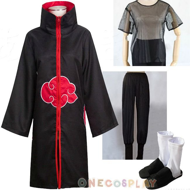 Naruto Akatsuki Cosplay Costume Set Akatsuki Cloak Pants Underwear Shoes