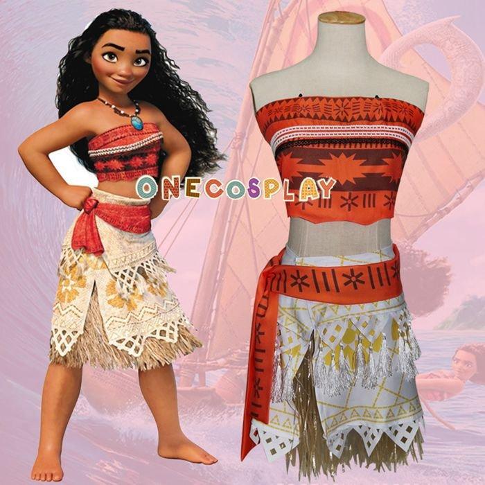 Moana Princess Cosplay Costumes Hawaii Maui style Women Sexy Savage Tops and skirts Kids Clothes