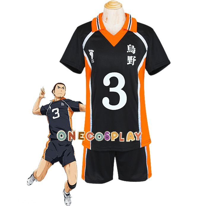 Haikyuu!! Azumane Asahi Cosplay Costume Karasuno High School Uniform Number 3 Volleyball Jersey