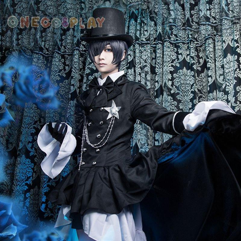 Black Butler Ciel Phantomhive Cosplay Cotumes Kuroshitsuji Halloween Fancy Party Trailing Dress
