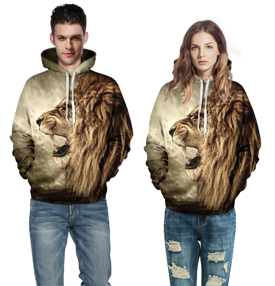 Fashion Lion Hooded Men Animal Hoodies Casual Graphic Hoodie Funny Sweat Shirt Tie-dye Sweatshirts
