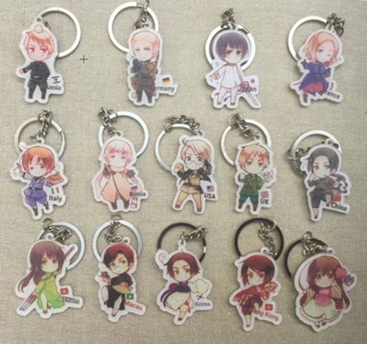 Anime Axis Powers Hetalia Key Chains Pendants Charm APH Collection Keychain