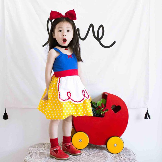 2017 Children's Snow White cos skirt Baby girls summer cotton dress harness princess  overalls dress