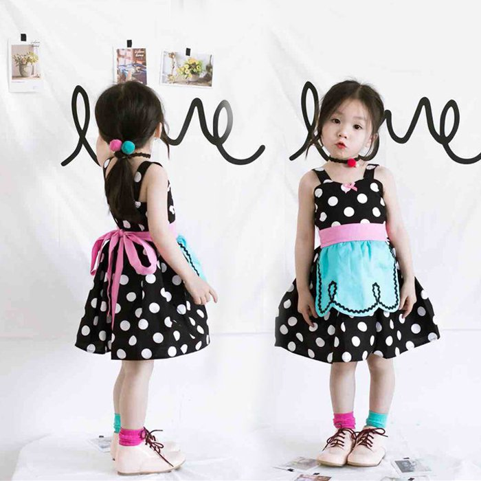 2017 Children's black polka dots skirt Baby girls summer cotton dress princess overalls dress