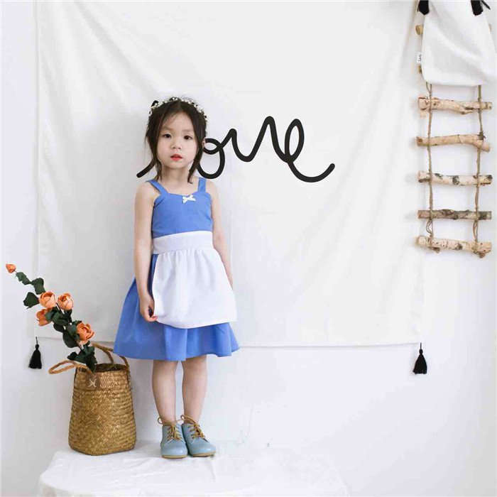 2017 Children's Alice cos Clothes Baby girls summer cotton dress princess overalls dress