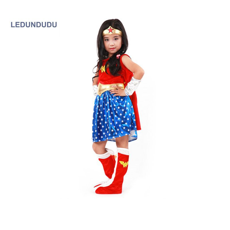 2017 Super Girl Ladies Wonder Woman Kids Cosplay Dress Children Halloween Party Fancy Costumes