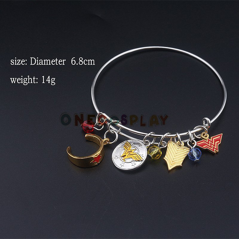 2017 Wonder Woman Charm Bracelet with Armor Tiara Crystals Bangle