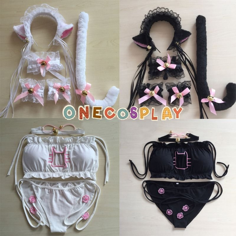 Sexy Sukumizu kitten underwear cosplay costume + lace cat ears headwear+ tail set