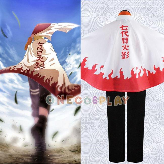 Uzumaki Naruto 7th Hokage Cosplay Costumes + Seventh Hokage Cloak Set Halloween Cosplay Clothes