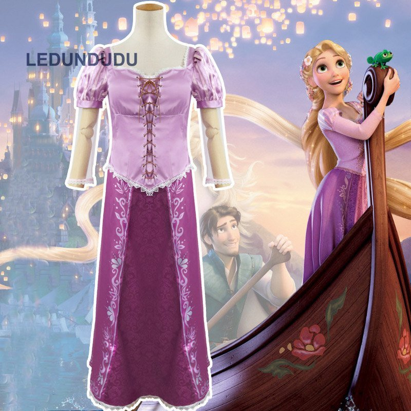 Tangled The Princess Rapunzel Dresses Women Carnival Party Fancy Dress Adult Costumes