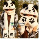 3 in 1 Animal Cartoon Coral Fleece Scarf Winter Lovely Panda Hat with Gloves Kid Adult Cap Scarves