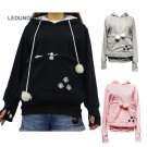 Women Cuddle Pouch Hoodies Mewgaroo Kangaroo Cat Pet Blouse Pullovers Ears Sweatshirt Pocket Hoody