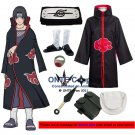 Naruto Cosplay Costumes Akatsuki Uchiha Itachi Cloaks Halloween Party Weapons Shoes